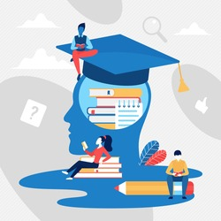 Education concept vector illustration. Cartoon tiny learning reading people and abstract head of graduate person full of educational knowledge from books, ideas thoughts and analytics background
