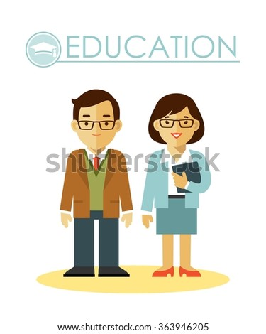 Education concept with teacher profession. Teacher man and woman in flat style isolated on white background