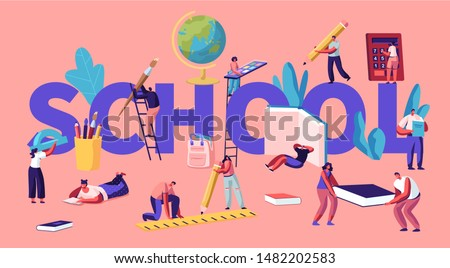 Education Concept with Tiny Male and Female Characters with School Stationery, College or University Students Back to School Knowledge Poster Banner Flyer Brochure. Cartoon Flat Vector Illustration