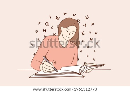 Education, copy space, writing concept. Young smiling woman sitting writing on blank notebook on table feeling creative and positive vector illustration