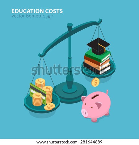 Education costs flat isometric concept. College education pricing and cost analyzing.