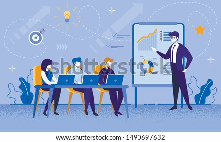 Education Courses for Office Workers and Businesspeople. Cartoon Female and Male people Group at Business Meeting with Professional Coach. Boosting Financial Literacy. Vector Flat Illustration