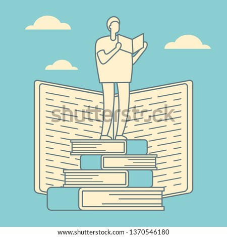Education courses outline vector concept. Search for answers to questions in books. Self education retro linear vector concept. Education through books and self-study. Help and support in education