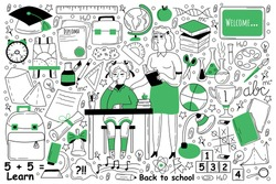 Education doodle set. Collection of hand drawn sketches templates of people learning studying subjects at college or university with teacher. Back to school and getting knowledge illustration.