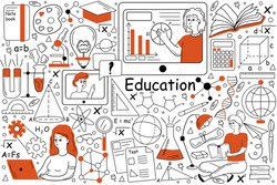 Education doodle set. Collection of hand drawn templates patterns of pupils students learning school university subjects studying at online training courses. Improval of skills expansion of knowledge.
