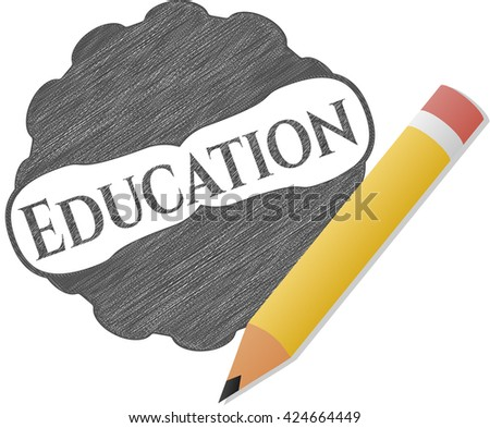 Education draw with pencil effect