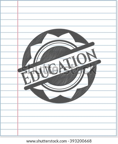 Education emblem draw with pencil effect
