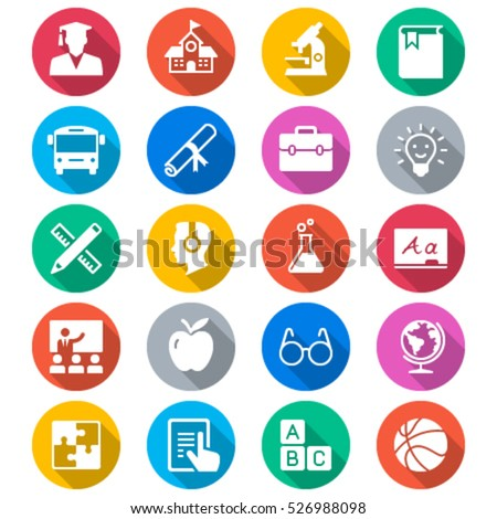 Education flat color icons