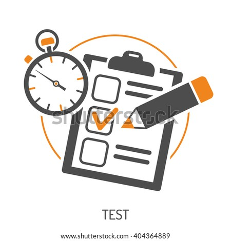 Education Flat Icon Set for Flyer, Poster, Web Site Like Test, Pencil and Stopwatch. Isolated vector illustration