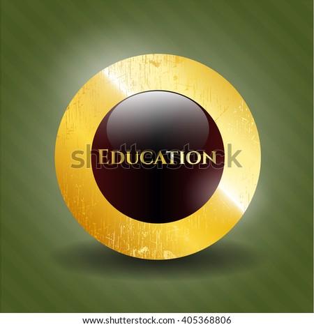 Education gold emblem or badge