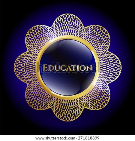 Education gold shiny badge