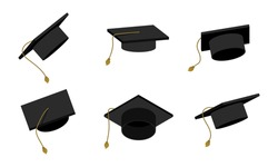 Education graduate cap illustration. College symbol, school or academic hat. Vector set master degree icon.