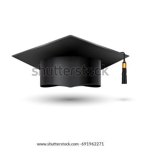 Education graduation university cup on white background. Success academic student hat for ceremony school achievement.