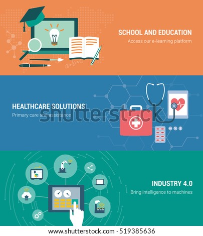 Education, healthcare and industry banners set with laptop and tablets #519385636