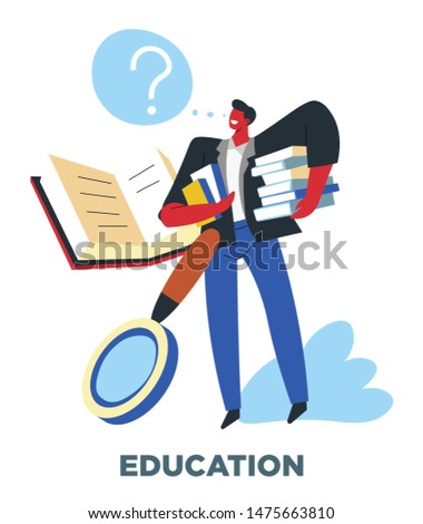 Education, human need, studying and reading, man with books vector. Textbooks and magnifier, learning and studying, knowledge. Academical degree achieving, personal development, school and university