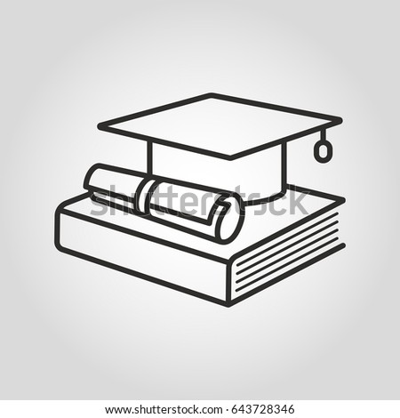 Education icon. Graduation cap, book and diploma symbol. Vector illustration.