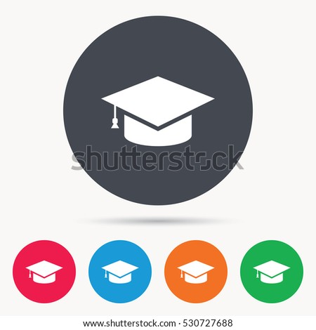 Education icon. Graduation cap symbol. Colored circle buttons with flat web icon. Vector