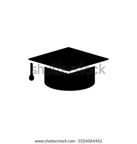 Education icon Isolated on white background. Graduation cap simbol in flat style. Simple abstract place icon in black. Vector illustration for graphic design, logo, Web, UI, mobile upp