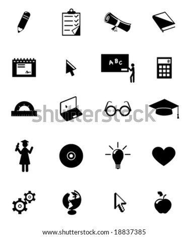 education icon set - stock vector