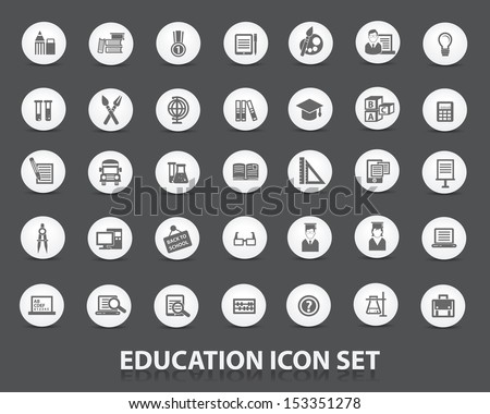 Education icon set,Circle version,vector