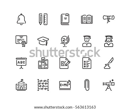 education icon set  outline...