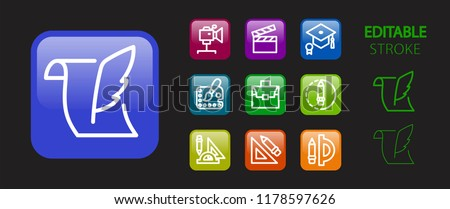 Education icon set. School, art and science buttons. 3d glossy colorful website icons. Editable stroke. Vector illustration.