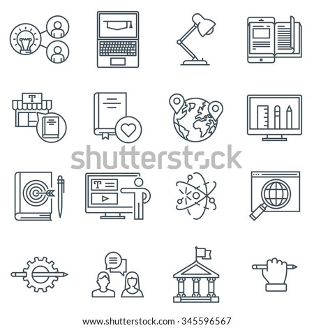 Education icon set suitable for info graphics, websites and print media. Black and white flat line icons.