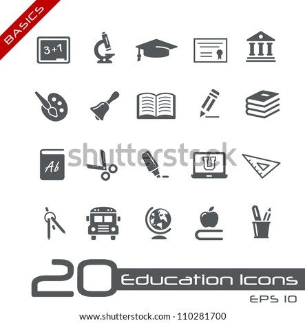 Education Icons // Basics - stock vector