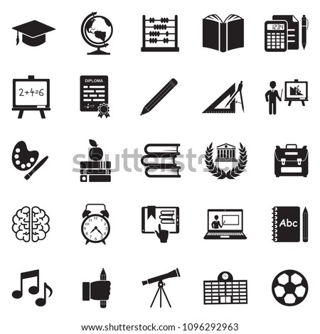 Education Icons. Black Flat Design. Vector Illustration.