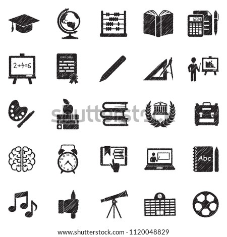 Education Icons. Black Scribble Design. Vector Illustration.