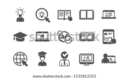Education icons. Book, Video tutorial and Instructions. Presentation classic icon set. Quality set. Vector