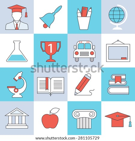 Education icons, flat design, thin lines and light color style