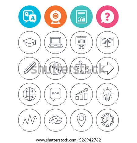 Education icons. Graduation cap, pencil and book symbols. Notebook, presentation and speech bubble thin outline signs. Pie chart, piece of puzzle and arrow. Report document, question and answer icons