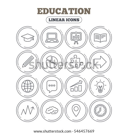 Education icons. Graduation cap, pencil and book symbols. Notebook, presentation and speech bubble thin outline signs. Pie chart, piece of puzzle and arrow. Circle flat buttons with linear icons