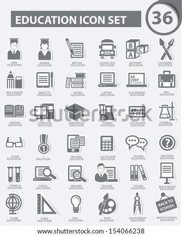 Education icons,Gray version,vector