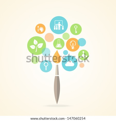 Education Icons Infographic Tree Design. Vector EPS 10