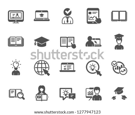Education icons. Laptop, Book and Video Tutorial icons. Graduation cap, Instructions and Presentation. Education or Lectures book, Charts and Idea. Laptop, tablet device. Video tutorial. Vector