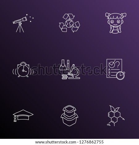 Education icons line style set with food container, quiz, telescope and other recycle elements. Isolated vector illustration education icons.
