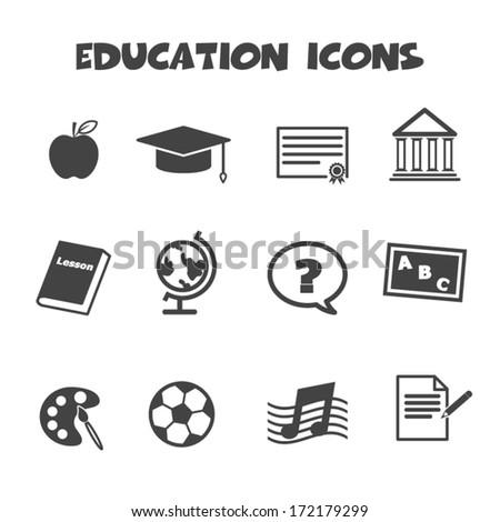 education icons, mono vector symbols