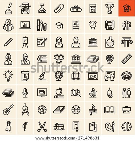 Education icons set. Back to school concept linear vector icons isolated on black background. Office supplies.