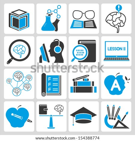 education icons set, blue theme