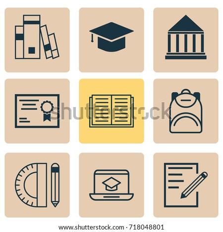 Education Icons Set. Collection Of Graduation, Paper, Library And Other Elements. Also Includes Symbols Such As Graduation, Diploma, Supplies.