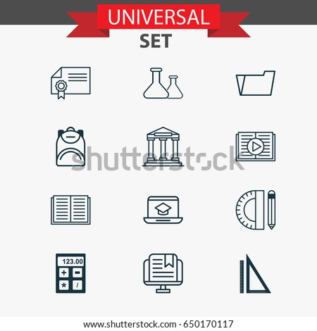 Education Icons Set. Collection Of Measurement, Haversack, Education Tools And Other Elements. Also Includes Symbols Such As Drawing, Book, Building.