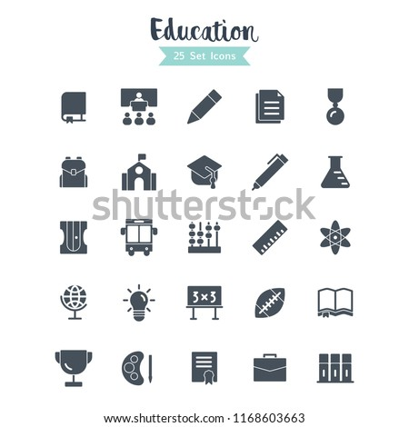 education icons set.  education icon vector with glyph style