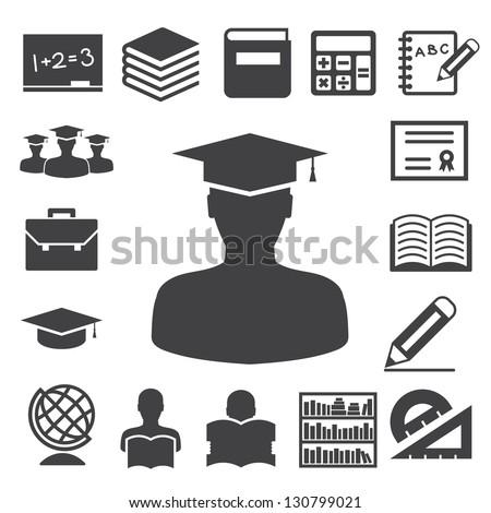Education icons set. Illustration eps 10 - stock vector
