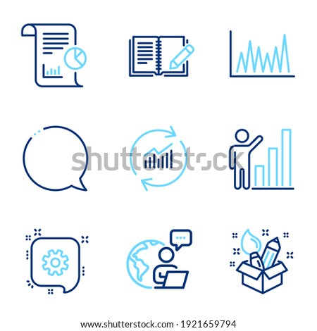 Education icons set. Included icon as Graph chart, Cogwheel, Update data signs. Speech bubble, Feedback, Line graph symbols. Creativity, Report line icons. Growth report, Engineering. Vector