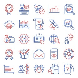 Education icons set. Included icon as Safe time, Check article, Cloud computing signs. Technical documentation, International Copyright, Drums symbols. Bill accounting, Horizontal chart. Vector