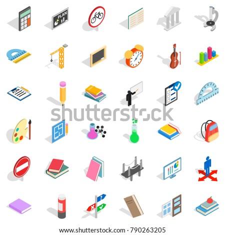Education icons set. Isometric style of 36 education vector icons for web isolated on white background