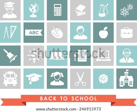 Education icons. Set of education icons in flat colorful style.