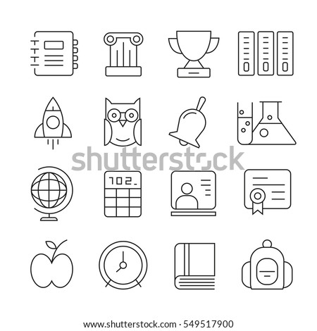 education icons set outline on white background